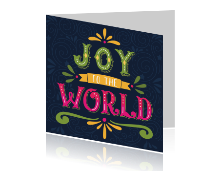 Kerst wenskaart hip design joy to the world
