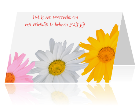 Wenskaart Vriendschap Drie Bloemen
