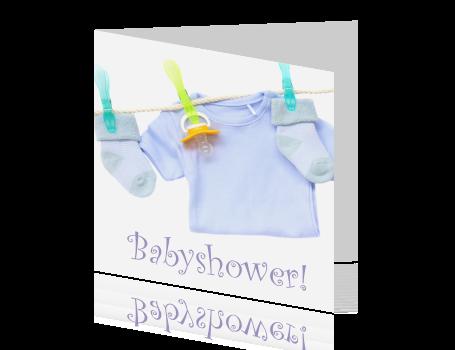 Extreem Uitnodiging babyshower Waslijn &XX01